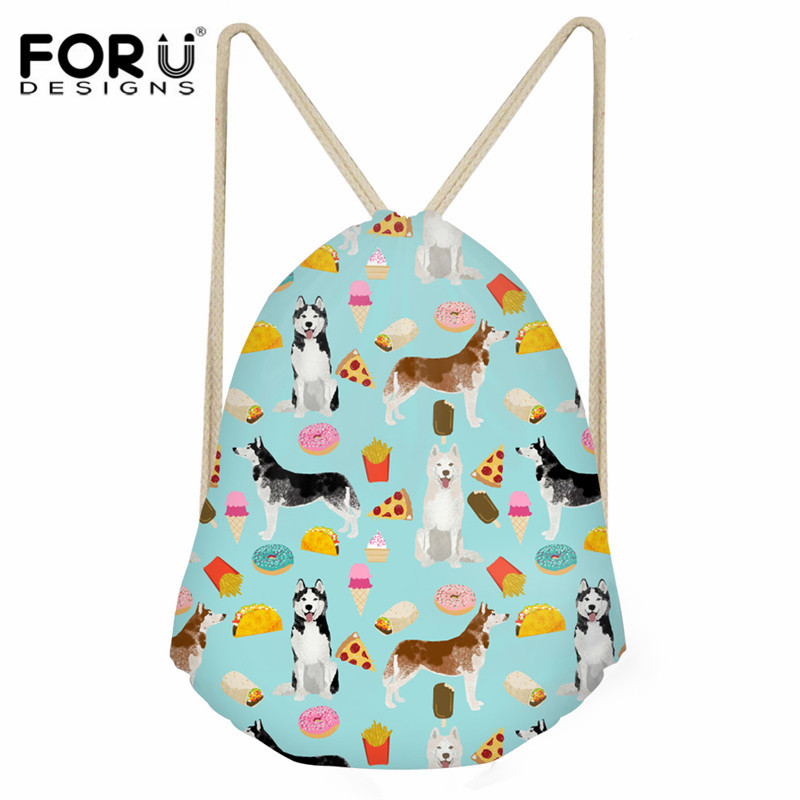 FORUDESIGNS Women Small Drawstring Bag Husky Pattern Backpack Sack Girls Boys Children Travel Beach Strorage Bag String Bag Lady
