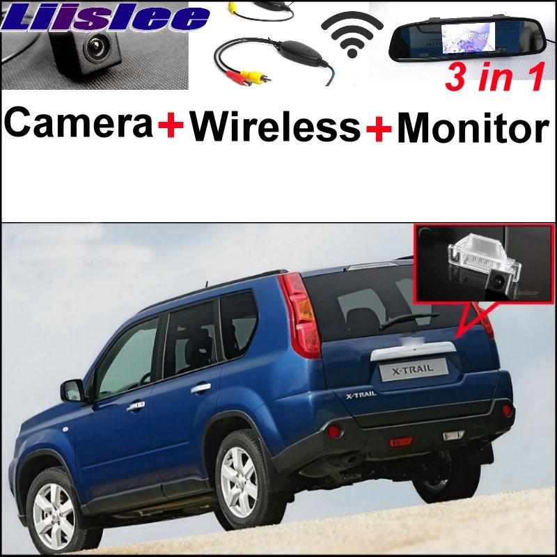 Liislee 3 in1 Special Rear View Camera + Wireless Receiver + Mirror Monitor DIY Parking System For Nissan X-Trail XTrail X Trail 3 in1 special rear view camera wireless receiver mirror monitor back up parking system for citroen ds3 ds 3 2009 2015