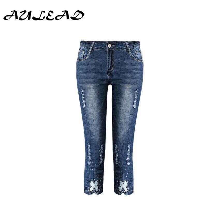 Aulead 2018 летние джинсы женские джинсовые Модные женские туфли синего цвета высокого качества Жан до середины икры Длина Штаны плюс размер джи...