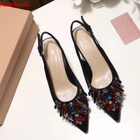 Hanbaidi Black Suede Leather Colorful Crystal Women Summer Sandals Sexy Peep Toe High Heels Gladiator Shoes Celebrity Shoes 39