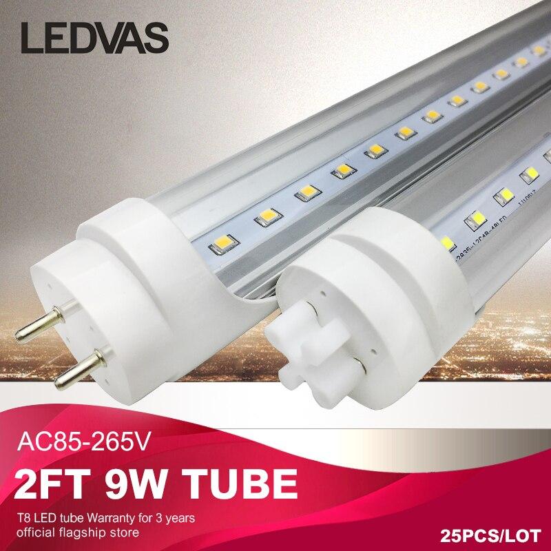 ledvas 2Ft T8 led tube light lamp 9W 600mm SMD2835 AC85 265V fluorscent led tubes brightness