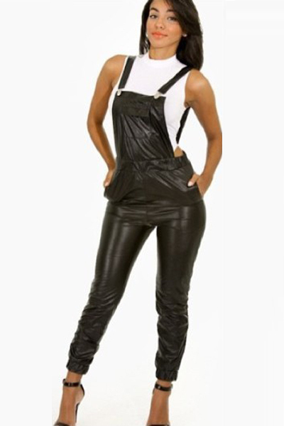 5915abe3edd Free Shipping New Style Sexy Leather Jumpsuit S