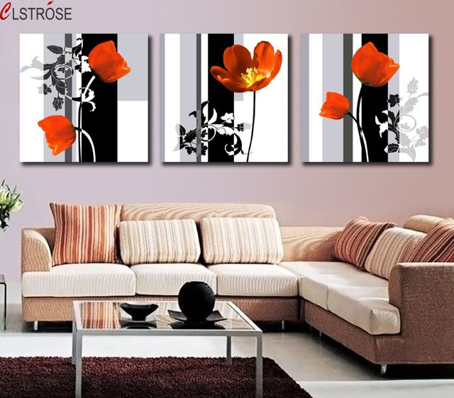 US $8.96 49% OFF|CLSTROSE Modern Art 3 Panel Flower Painting Contemporary  Floral Canvas Painting Paint For Living Room Wall Picture Home Decor-in ...