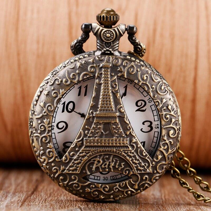 Fashion Hollow Paris Eiffel Tower Case Design Pocket Watch With Necklace Chain For Women Girls Men Relojes De Bolsillo