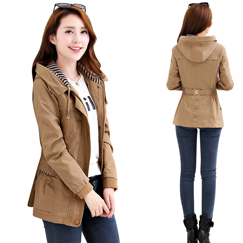 Womens Windbreaker Jacket New Short Jacket Fashion Large Size Coat Slim Cotton Zip Hooded Women Jacket
