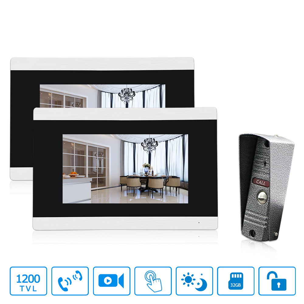 Touch-Screen Wired Video Door Phone 1.3MP Security Cameras Doorbell Intercom Video with 7 inch 2 Monitor Video Intercom door intercom 7 inch wired video door phone monitor with tft hd lcd display touch screen 800x480 support sd card