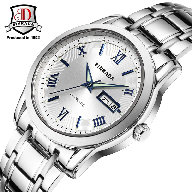 2017 New BINKADA Brand Luxury Fashion Casual Stainless Steel Strap Watches Men Automatic Watch For Men Fashion Watch все цены