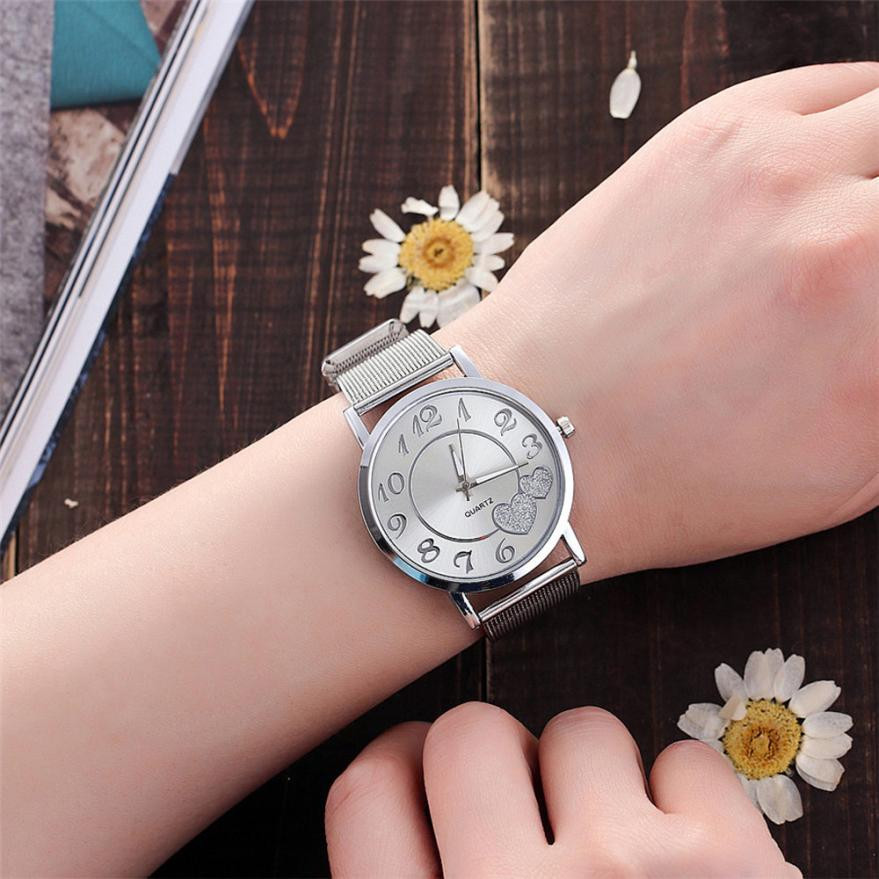 Special Gifts Women Watches Stainless Steel Band Relogio Feminino Love Heart Dial Watches Women Nice Horloge