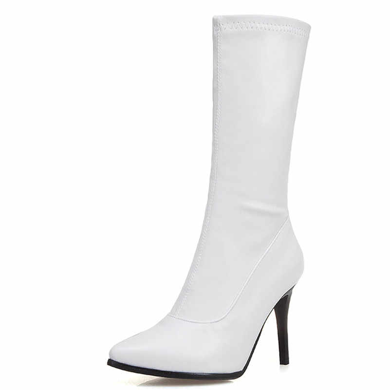 FEDONAS Moda Seksi Sivri Burun Ince Topuklu Kadın Orta Buzağı Botları 2019 Kış Akın Pu Deri Parti Gece Kulübü ayakkabı Kadın