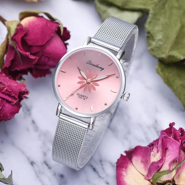 Women's Wristwatches Luxury Silver Popular Pink Dial Flowers Metal Ladies Bracelet Quartz Clock Fashion Wrist Watch 2019 Top 1