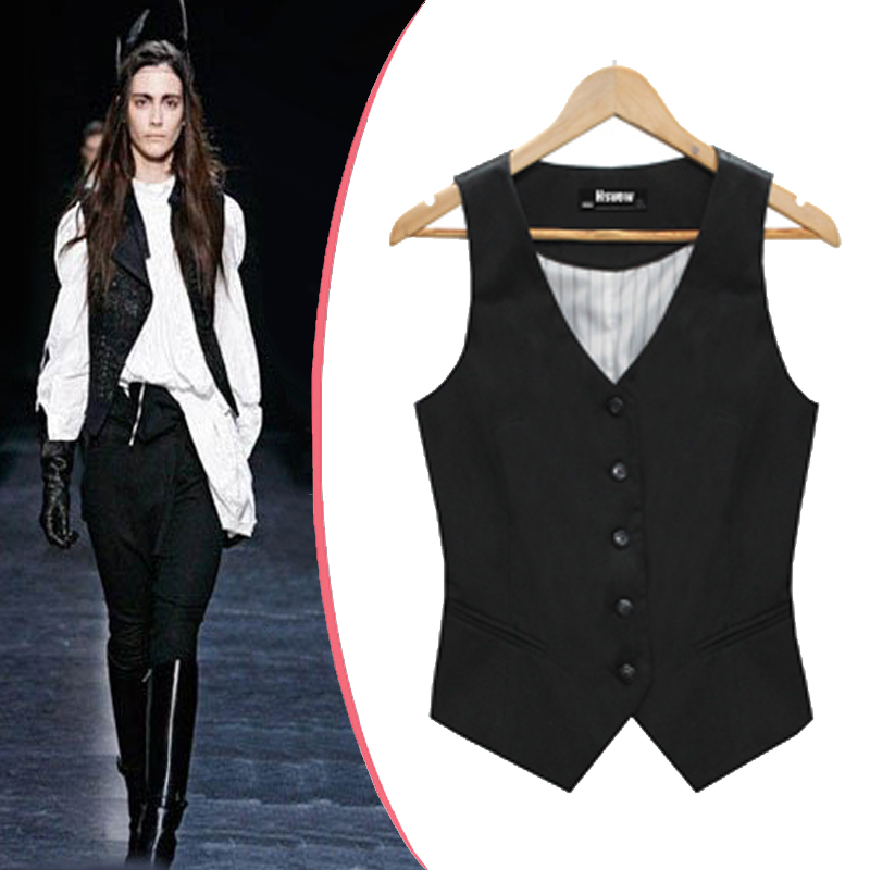 Women's black fashion vest with adjustable full back and 4 buttons. Available in antique gold, black, burgundy, heather grey, purple, red, and turquoise. Matching ties sold separately. Sizes 2XL and up sold at additional cost.