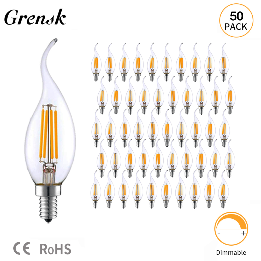 Grensk 50pcs lot C35 4W E14 LED Candle Bulbs Warm White 2700K Vintage Led Lamp 35W
