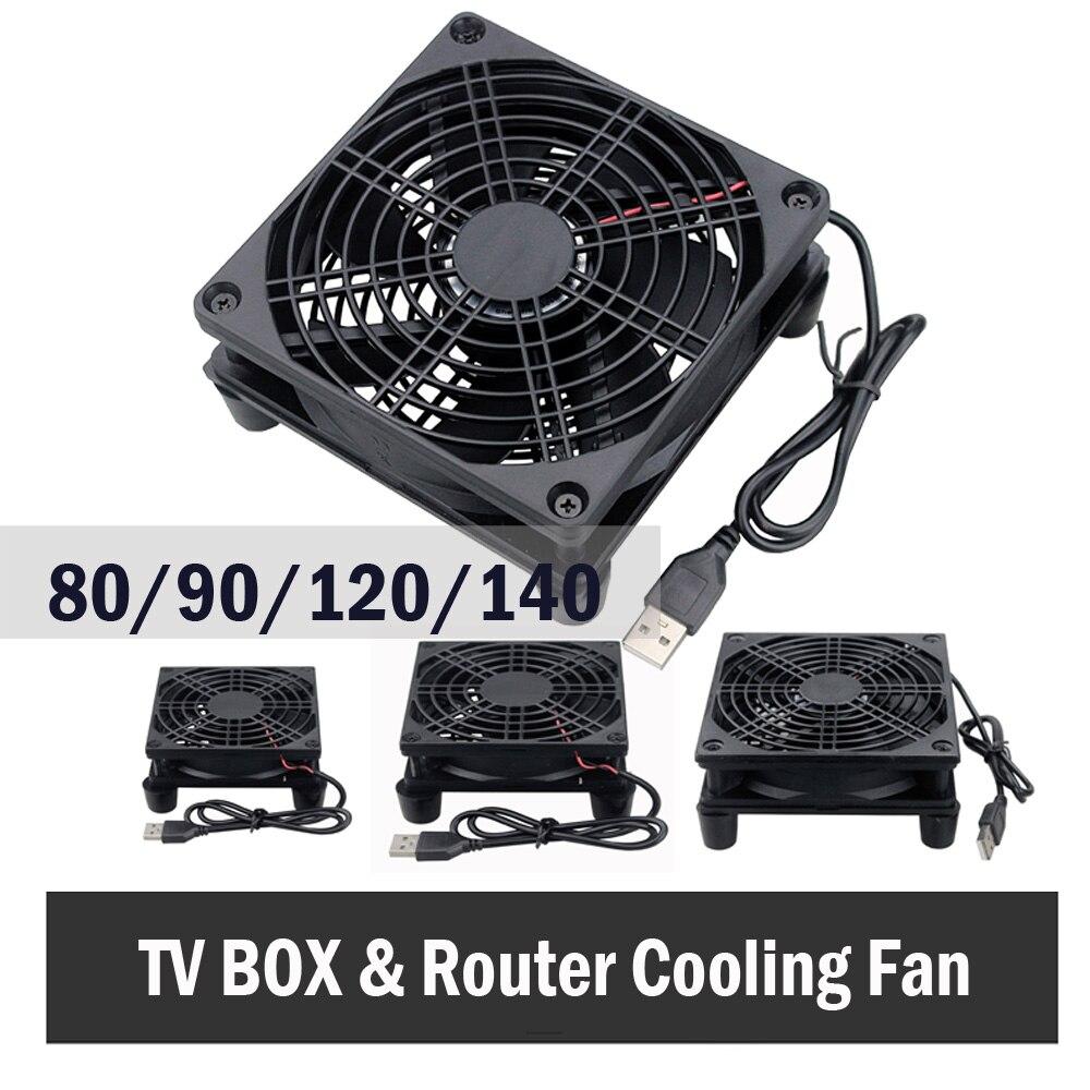 2 uds 80mm 80 DC 5V USB Power PC Cooler TV Box inalámbrico de 120mm ventilador de enrutador 80mm 90mm 140mm Fan W/tornillos Prot ventilador de enrutador