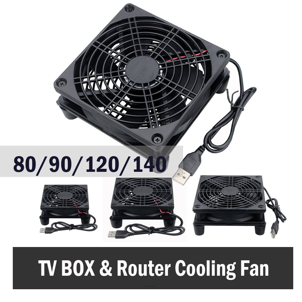 Gdstime 5V USB Router Fan TV Box Cooler 80mm 92mm 120mm 140mm PC DIY Cooler W/Screws Protective Net Silent Desktop Fan