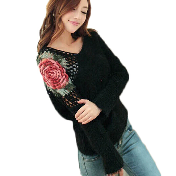 Winter Sexy Warm Women Sweater Crochet Pull Loose Oversize Flower Knitted  Long Sleeve Jumper Pull Ladies Tops MF48512-in Pullovers from Women s  Clothing   ... 4397008d3