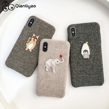Qianliyao Cute Embroidered Elephant Raccoon Penguin Linen Cloth Phone Case For iphone 6 6s 7 8 plus X XR XS 11 Pro Max Cover