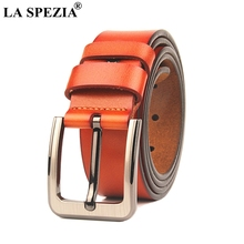 LA SPEZIA Mens Belt Plus Size Genuine Cowhide Men Leather 140cm Retro Wide 3.8cm Brown Luxury Designer Male
