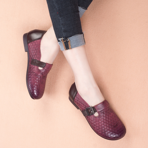 GKTINOO 2019 Autumn New Vintage Handmade Shoes Loafers Genuine Leather Flats Women Shoes Casual shoes Fashion Women Shoes Islamabad