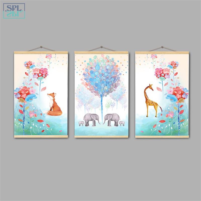 SPLSPL Framed Fashion Hand Drawn Picture Hand Drawn Flower Animals Canvas Art Print Cartoon Poster Wall Picture for Living Room