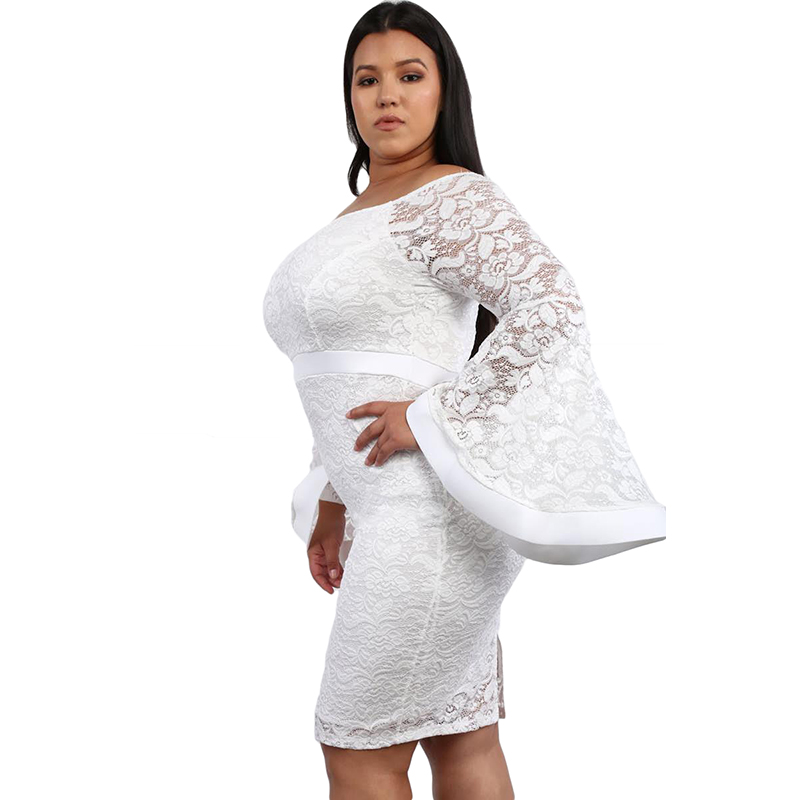 US $36.67 |Women New Autumn White Plus Size Lace Bell Long Sleeve Bodycon  Dress Slash Neck Knee Length Midi Dress-in Dresses from Women\'s Clothing on  ...