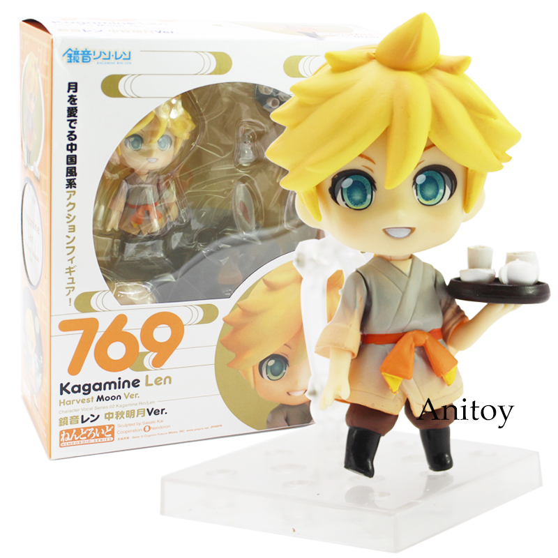 Hatsune Miku Kagamine Rin 768 and Len 769 Harvest Moon Ver. Nendoroid Doll PVC Action Figure Collectible Model Toys 9.5cm-11cm naruto kakashi hatake action figure sharingan ver kakashi doll pvc action figure collectible model toy 30cm kt3510