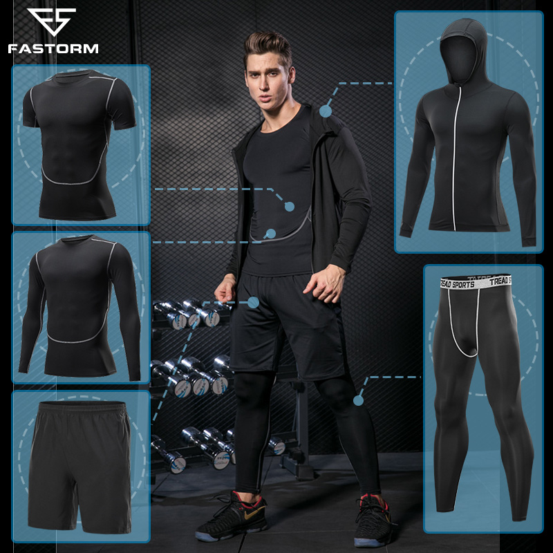 FASTORM Tracksuit For Men Running Sets Fitness Jogging Suits Compression Sportswear Basket Tight Gym Workout Clothes