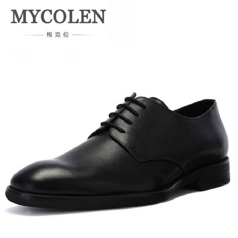 MYCOLEN Genuine Leather Mens Dress Shoes For Men Lace-Up Business Leather Shoes Men Wedding Oxfords Zapato Hombre Italiano top quality crocodile grain black oxfords mens dress shoes genuine leather business shoes mens formal wedding shoes