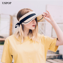 USPOP 2019 New women summer sun hats Fashion wide brim straw hat visor caps without top adjustable ribbon bow-knot beach