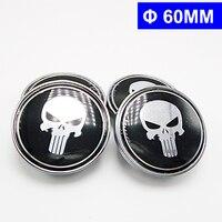 4pcs 60mm Car Emblem Badge Sticker Wheel Hub Caps Center Cover Skull For Chevrolet Audi Volvo