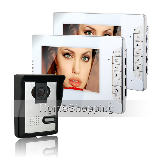 Brand New Wired 7 inch Home Color Video Door Phone Intercom Door bell System 2 White Monitor + Door Camera FREE SHIPPING SALE brand new wired 7 inch color video door phone intercom doorbell system 1 monitor 1 waterproof outdoor camera in stock free ship