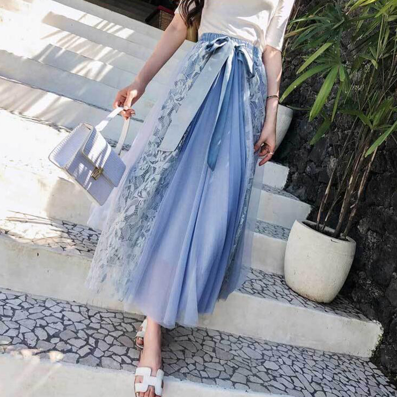 154c3e53f TIGENA elegante encaje tul faldas largas mujeres 2019 alta cintura plisada  Maxi falda femenina con ...