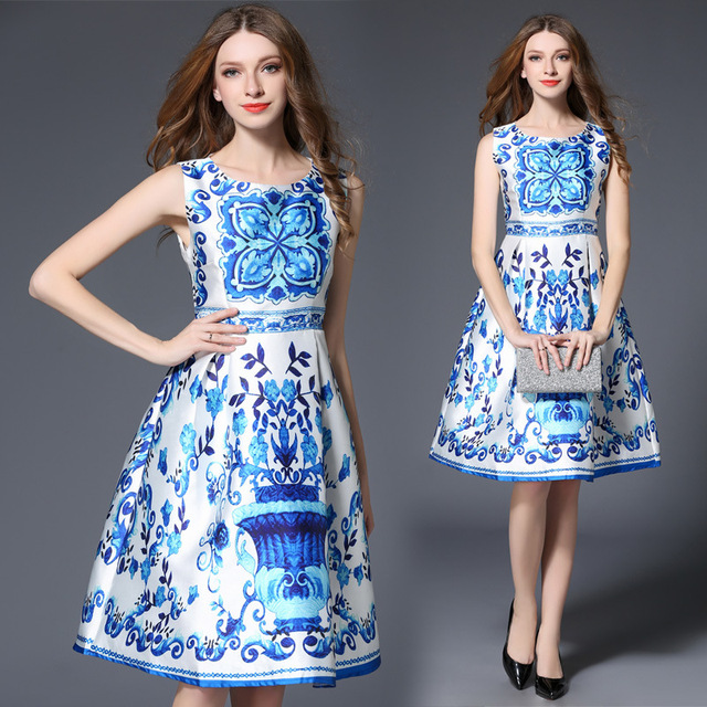 Women Blue And White Porcelain Print Dress Office Work Dresses Las O Neck Sleeveless A