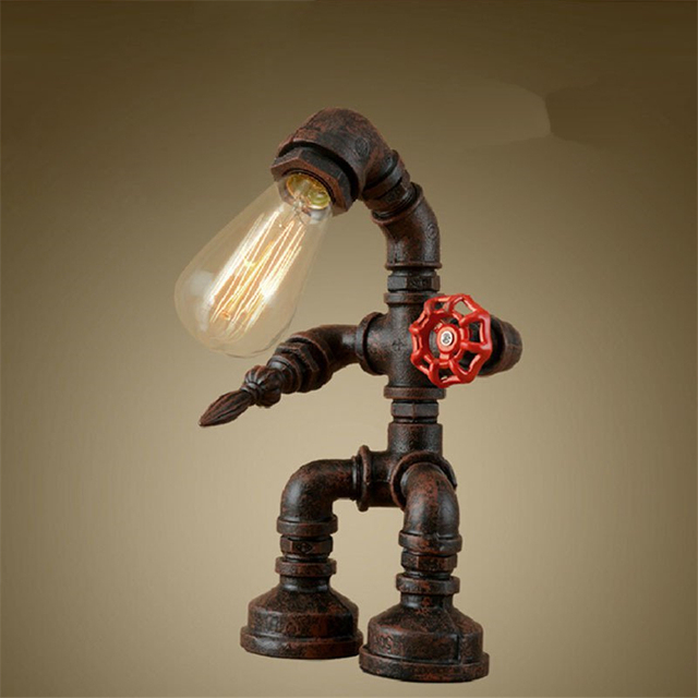 Great Pipe Vintage Table Lamp Industrial Loft Retro Novelty Desk Lamp Study Room  For Bedroom Living Study