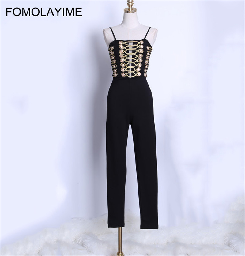 FOMOLAYIME New Arrival Summer Jumpsuits 2018 Women High Fashion Skinny Jumpsuits Rompers