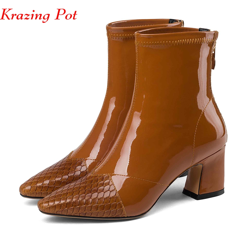 Krazing Pot hot sale new British high heels Chelsea boots pleated decoration sheep patent leather zipper fashion ankle boots L15Krazing Pot hot sale new British high heels Chelsea boots pleated decoration sheep patent leather zipper fashion ankle boots L15