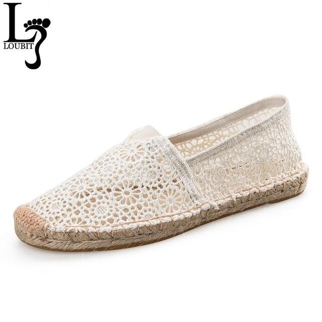 0f5e1ae29d4e8 Alpargatas Fishman zapatos verano Mujer mocasines Casual señora zapatos de  encaje Beige negro mujer elegante Casual