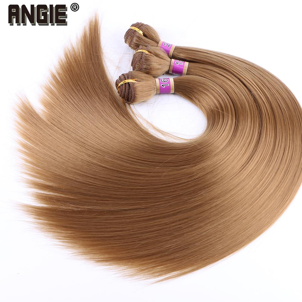 Angie Hair-Bundles Weave Heat-Resistant-Fiber Synthetic-Hair Straight Women for 70gram