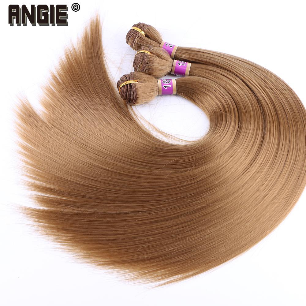 Синтетические волосы Angie, прямые пучки волос, 100% Термостойкие волосы для наращивания для женщин, 70 грамм, только пряди 1/3/4
