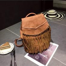 Популярные новые искусственная кожа женщины рюкзак небольшой кисточкой мягкий материал повелительницы плечи мешок