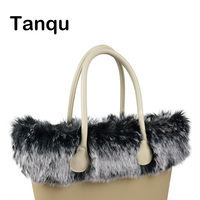Tanqu New Women Bag Faux Fox Fur White Black Plush Trim For O BAG Thermal Plush