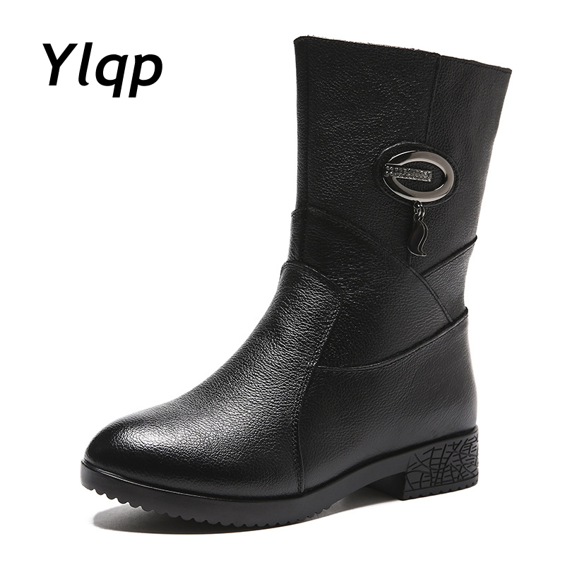 2019 New Women Platform Boots Genuine Leather Ladies Square Heels Round Toe Mid Calf Boots Woman Shoes Female Winter Boots Black-in Mid-Calf Boots from Shoes on AliExpress - 11.11_Double 11_Singles' Day 1
