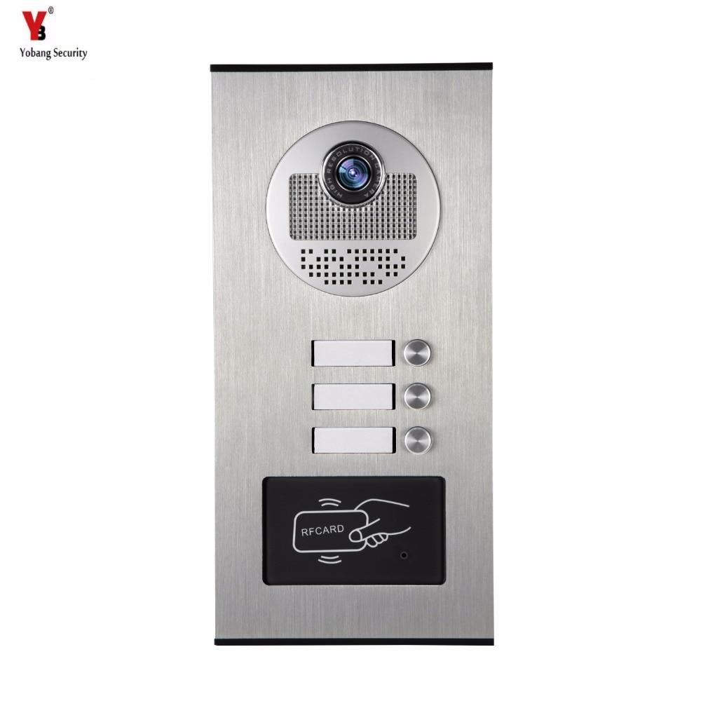 Yobang Security Metal Aluminum Outdoor RFID Access Door Camera For 3 Units Apartment Video Intercom Doorbell Door Phone System