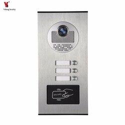 Yobang Sicherheit Metall Aluminium Outdoor RFID Zugangstür Kamera Für 3 Einheiten Apartment Sprechanlage Türklingel System