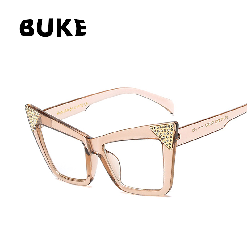 BUKE Novos Vidros Do Olho de Gato Sexy Retro Preto Moda Feminina Óculos  Quadro Do Gato Olho Óculos de Armação Clara Lente Eyewear Vintage 6571b48e8f