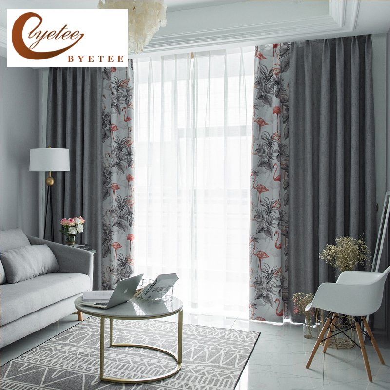 US $26.0 35% OFF|[byetee] Modern Nordic Wind Mosaic Blackout Curtains Doors  For Kitchen Window Curtain Living Room Bedroom Shading Cloth Drapes-in ...