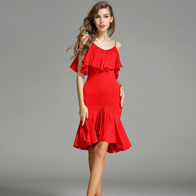 red latin dance dress fringe women latin dress dancing clothes ...