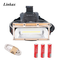 Super High Power COB LED Wide Angle 3 Mode USB Rechargeable Headlamp Headlight White Blue Red