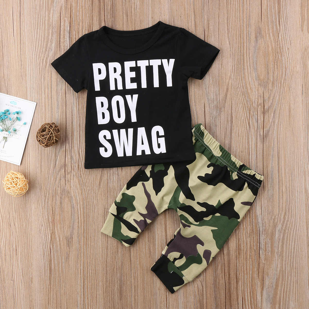 c641ad143dd5e 2pcs Cool Baby Boy Short Sleeve Swag T-shirt Tops+Camouflage Pants Leggings  Outfit Toddler Kids Summer Clothes Set