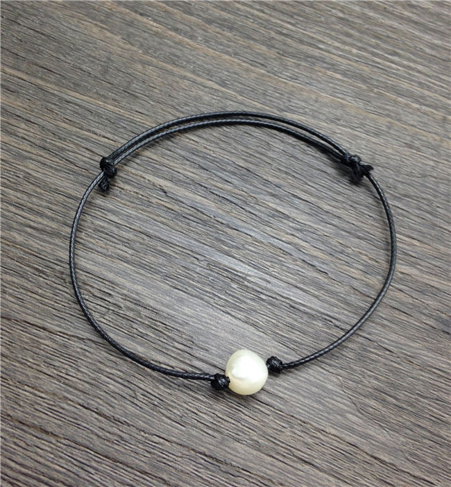 Buy 1pc Real cultured pearl bracelets bangles single natural freshwater pearl hand chain knotted cord black leather bracelet free for $2.69 in AliExpress store