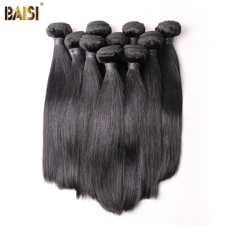 BAISI Hair,100% Unprocessed Human Hair Brazilian Remy Hair Straight Extension,Natural Color,8-28inch,10Bundles/Lot ...
